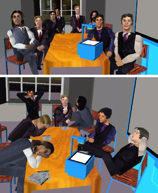 Two images show the a small crowd of 8 men providing postive or very disinterested/rude feedback. The visual appearance is very crude by today's standards.