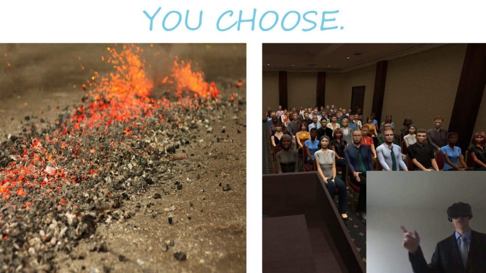 Two images are seen with text above them saying: You Choose. The left image is of a bed of coals prepared for fire walking, a trial by fire. The right image is a businessman in VR goggles speaking to a virtual audience, a Trial by VR.