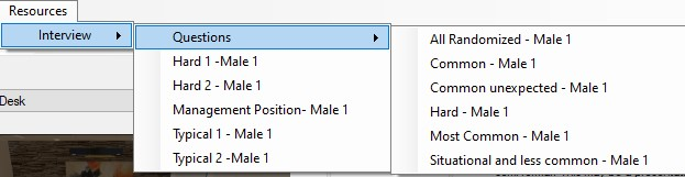 Interview Resources menu of the Virtual Orator interface